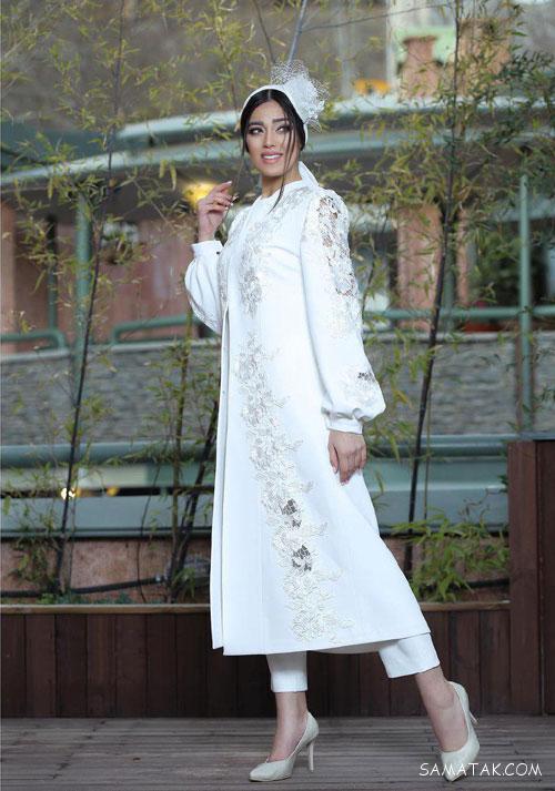 مدل مانتو سفید برای عقد در محضر | ژورنال مانتو شلوار برای عقد محضری