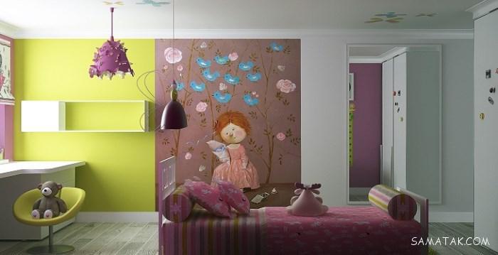 رنگ و مدل کاغذ دیواری اتاق خواب دخترانه