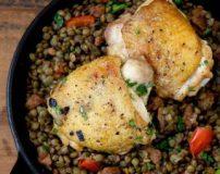 دستور پخت عدس پلو با مرغ ریش ریش | طرز تهیه عدس پلو با ران مرغ