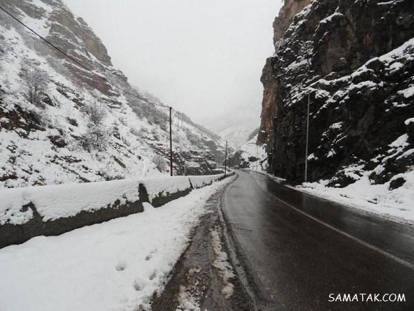 عکس هایی از سقوط بهمن و برف سنگین در جاده چالوس به کرج