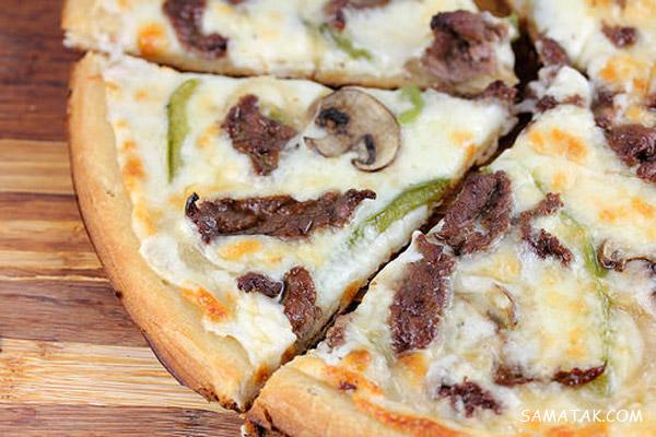 طرز تهیه پیتزا سیر و استیک | طرز تهیه پیتزا استیک ایتالیایی