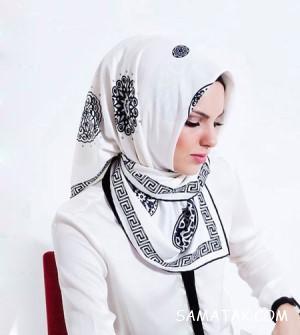 50 مدل روسری نخی سفید مشکی مجلسی راه راه و ساده
