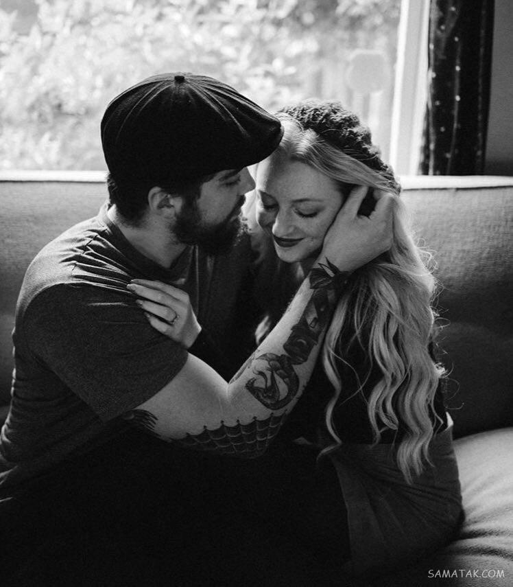 عکس دختر و پسر در آغوش هم روی تخت | عکس عاشقانه زن و شوهر در آغوش هم