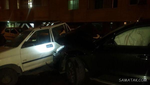 فیلم تصادف دختر پورشه سوار با پراید در خیابان کارگر اصفهان