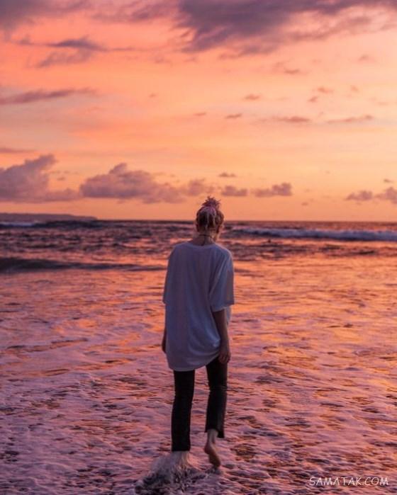 ژست عکاسی دخترانه لب دریا | مدل ژست عکس گرفتن کنار دریا