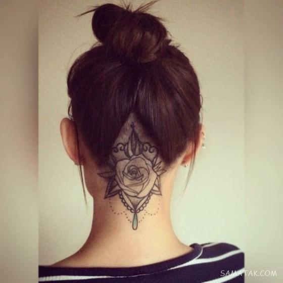 طرح تاتو دخترانه پشت گردن (100 عکس)