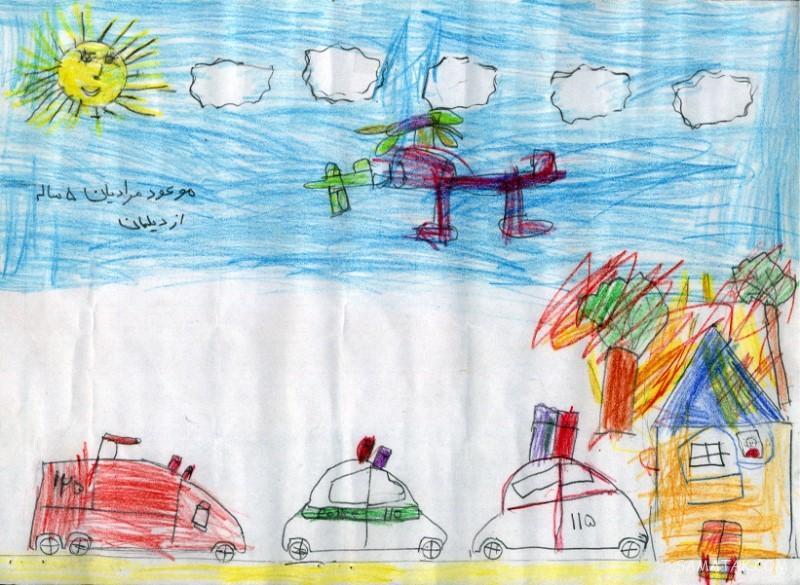 نقاشی کودکانه در مورد روز آتش نشانی | نقاشی روز آتش نشان برای بچه ها