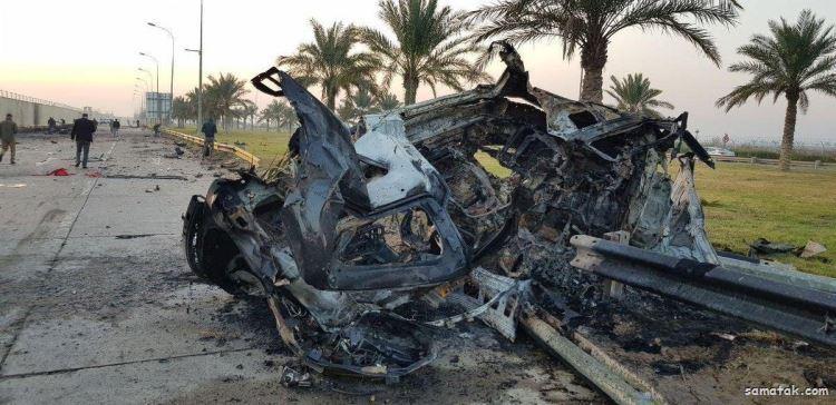 عکس های لحظه شهادت سردار سلیمانی در بغداد