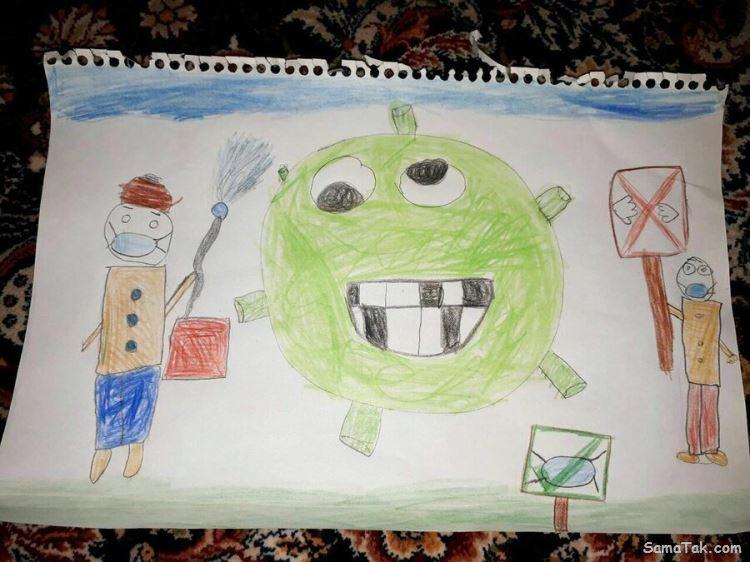 نقاشی ویروس کرونا؛ نقاشی های کودکانه در مورد کرونا