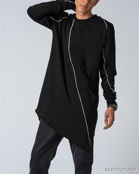60 مدل تیشرت لانگ مردانه ساده و طرح دار جدید (Long T-shirt)