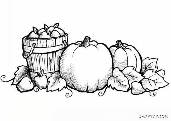 نقاشی فصل پاییز با مداد رنگی   نقاشی در مورد پاییز کودکانه