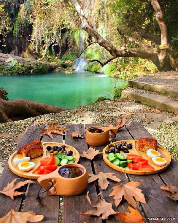 عکس صبحانه در طبیعت | عکس صبحانه لاکچری