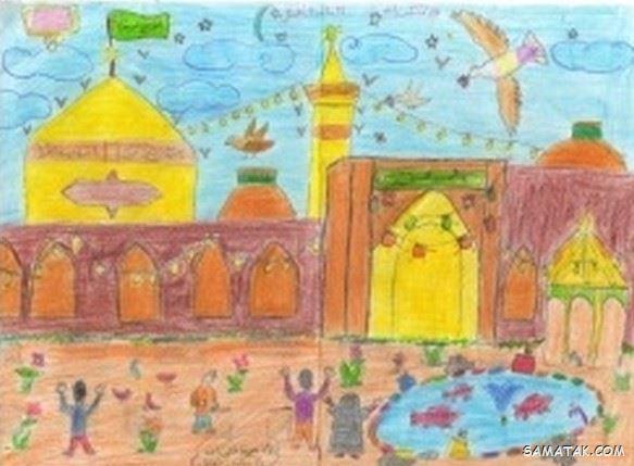 نقاشی کودکانه در مورد امام رضا | نقاشی امام رضا برای کودکان
